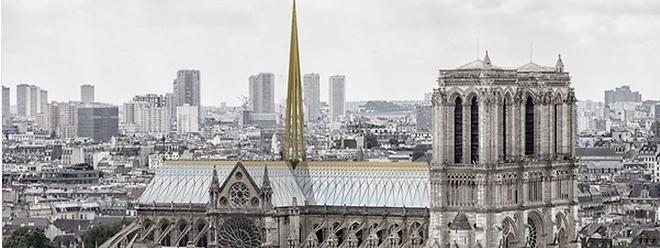 Le cabinet d'architectes Godart + Roussel de Dijon propose d'aménager une toiture de vitres et tuiles de cuivre.