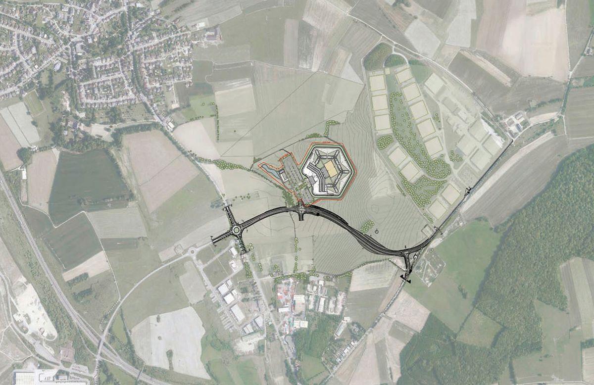 Das Untersuchungsgefängnis wird südöstlich von Sassenheim (oben links) liegen. Auch eine Verbindungsstraße wird gebaut.