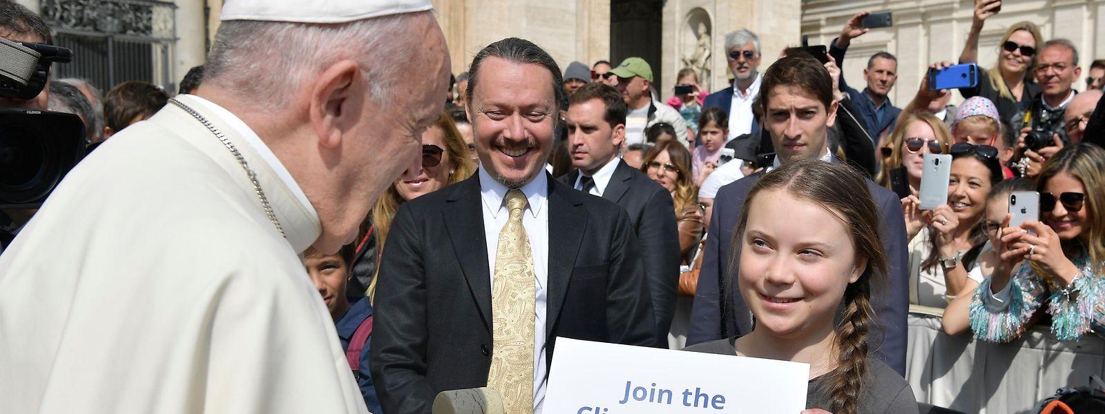Papst Franziskus und Greta Thunberg sind sich in der Sache einig.