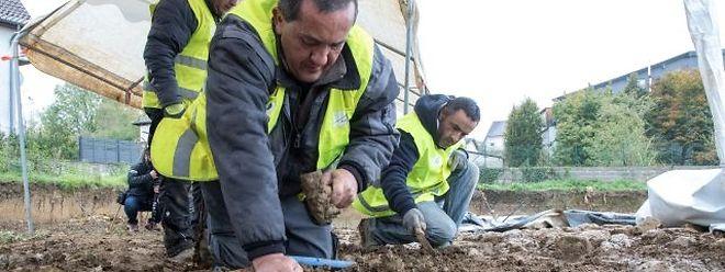 Unter dem Schlamm finden die Arbeiter spannende Dokumente der Geschichte.