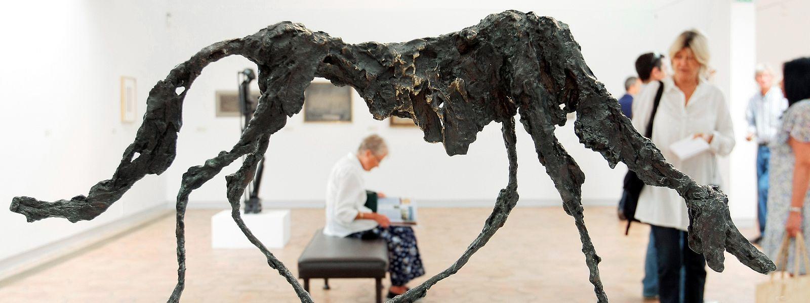 """Bei einer Ausstellung 2010 in der Fondation Maeght in Saint-Paul de Vence (Frankreich) war unter anderem Giocaomettis """"Le chien"""" zu sehen -  eine der wenigen Arbeiten des Künstlers, die sich nicht der menschlichen Form widmeten."""