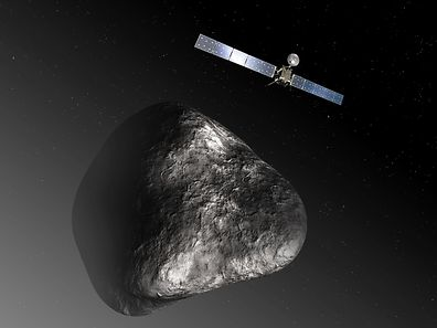 "(FILES) This handout file photo released by the European Space Agency (ESA) on December 3, 2012 shows an artist's impression of the Rosetta orbiter at comet 67P/Churyumov�Gerasimenko. The image is not to scale; the Rosetta spacecraft measures 32 m across including the solar arrays, while the comet nucleus is thought to be about 4 km wide. European spacecraft Rosetta will end its mission on September 30, 2016, after travelling almost seven billion kilometres (4.4 billion miles) to probe the secrets of comets, with help from a high-tech robot named Philae. The 1.4-billion-euro ($1.5-billion), 12-year odyssey will conclude with a last-gasp spurt of science-gathering as Rosetta departs the orbit of comet 67P/Churyumov-Gerasimenko and descends over 14 hours to her final resting place. / AFP PHOTO / ESA / C. CARREAU / RESTRICTED TO EDITORIAL USE - MANDATORY CREDIT ""AFP PHOTO / ESA MEDIALAB / C. CARREAU"" - NO MARKETING NO ADVERTISING CAMPAIGNS - DISTRIBUTED AS A SERVICE TO CLIENTS"