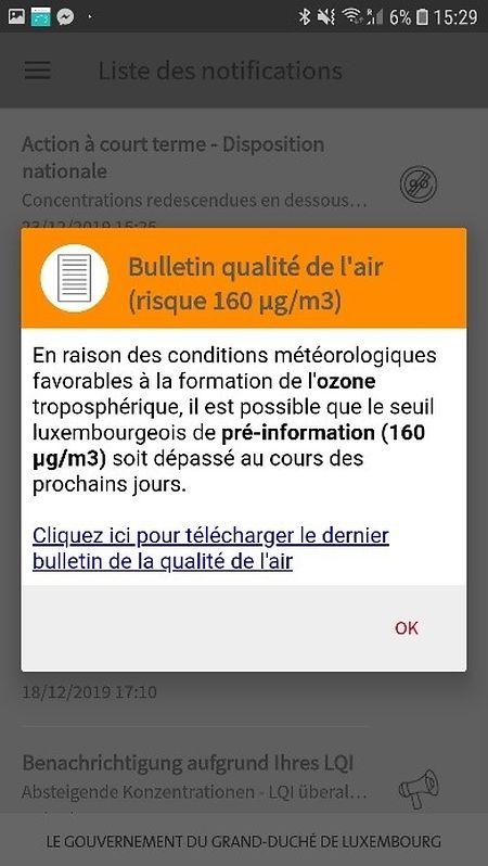 Les utilisateurs de l'application sont désormais automatiquement avertis si les niveaux d'ozone sont trop élevés.
