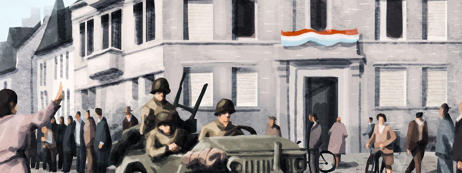 10 septembre 1944. Vers 9 heures du matin, la 5e division blindée américaine, commandée par le général Lunsford E. Oliver, entre dans la capitale sans rencontrer de riposte allemande.