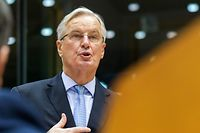 European Union chief Brexit negotiator Michel Barnier reports on last week European summit during plenary session at the European Parliament in Brussels, on October 21, 2020. (Photo by Olivier HOSLET / POOL / AFP)
