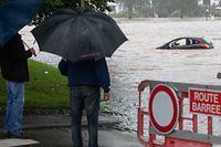 Hochwasser nach Starkregen , Ettelbruck , Deichhalle , Parking Foto:Guy Jallay/Luxemburger Wort