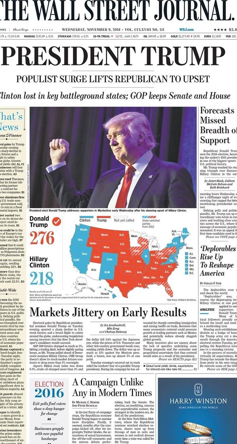 """Das """"Wall Street Journal"""" mit einer klassischen Headline: """"President Trump"""". Auffällig: Das Adjektiv """"populistisch"""" in der Unterzeile."""