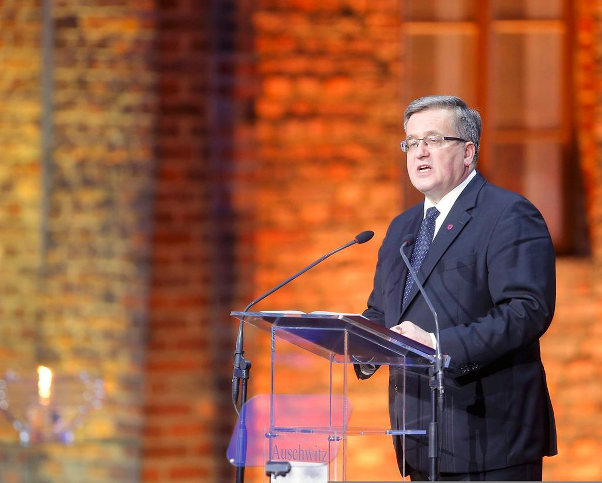 Der polnische Präsident Komorowski war der einzige Politiker, der bei der Gedenkfeier das Wort ergriff.
