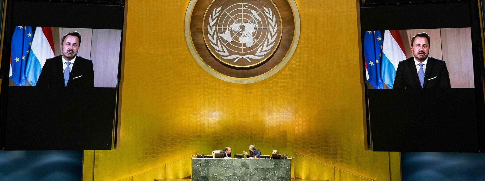 Bettel na mensagem gravada e transmitida na Assembleia-Geral da ONU em 2020. Diferente deste ano, o encontro realizou-se online devido à pandemia.