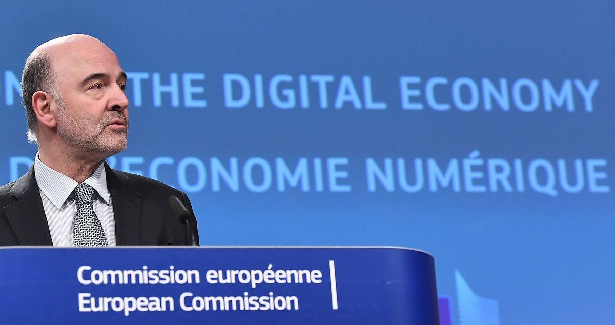 Le commissaire européen, Pierre Moscovici à la conférence mercredi de presse à Bruxelles.