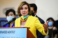 US Speaker of the House Nancy Pelosi, Democrat of California, speaks at an event to raise awareness of the Child Tax Credit, in Los Angeles, California on July 15, 2021. - Payments from the Child Tax Credit are being disbursed starting July 15. (Photo by Frederic J. Brown / AFP)