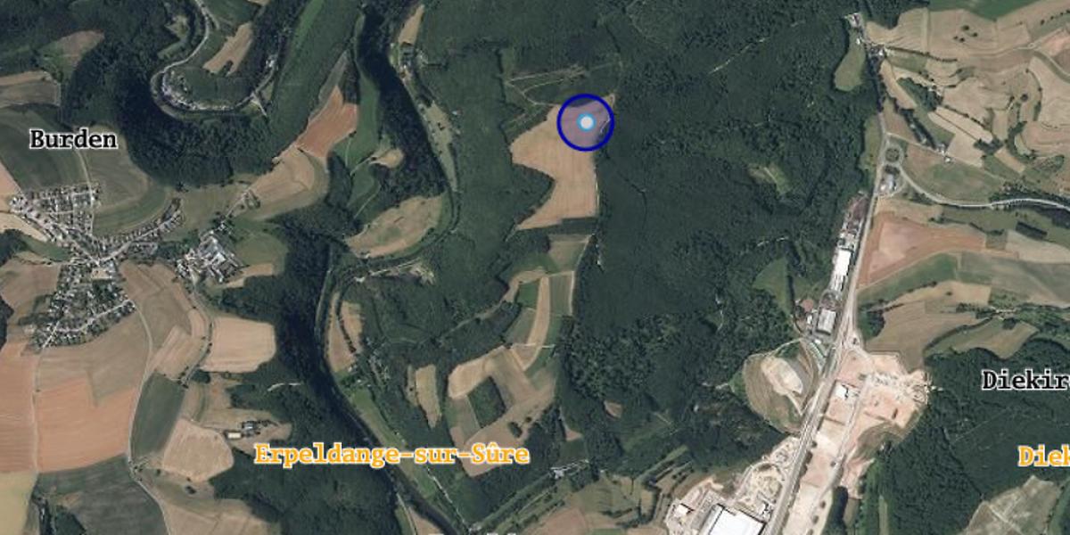 Gegenüber dem aktuell geplanten Standort bei Bürden (rot) läge der von der Gemeinde vorgeschlagene Windrad-Stadnort um Leezefeld (blau) weitab jeder Wohnbebauung.