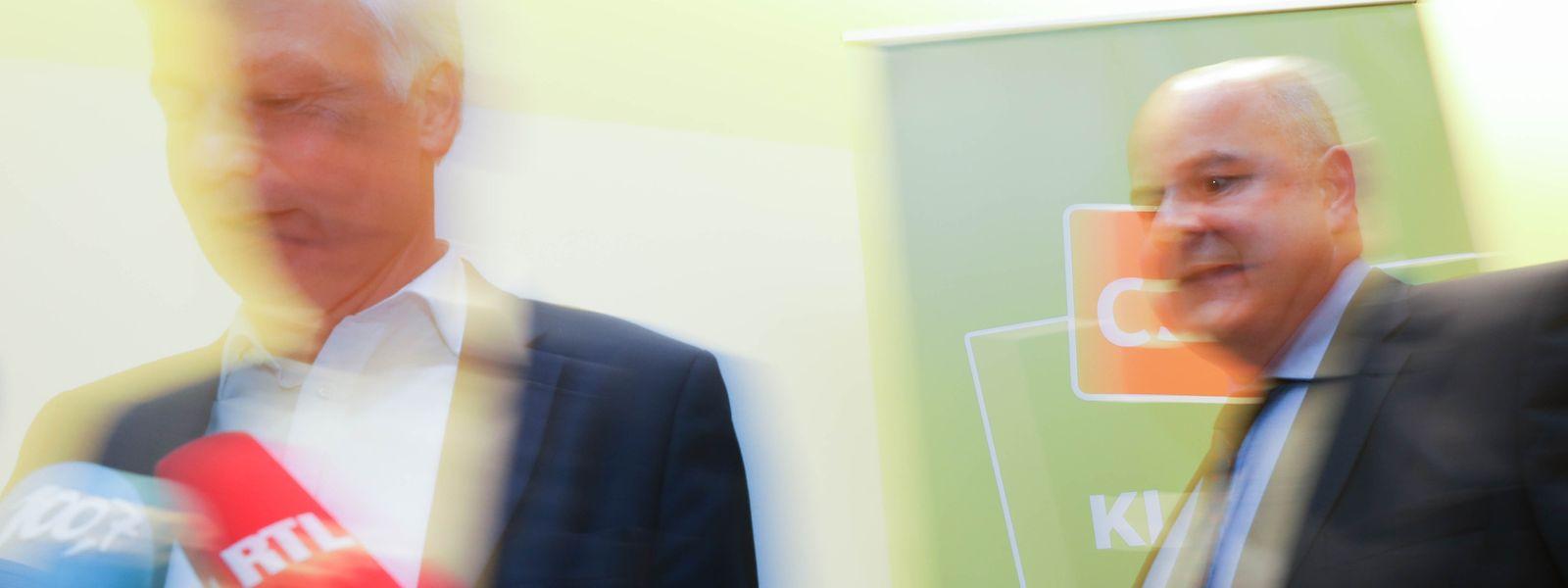 Unerwartet kämpferisch: CSV-Spitzenkandidat Claude Wiseler und Parteichef Marc Spautz nach dem CSV-Nationalrat am 16. Oktober 2018.