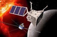 """ARCHIV - 06.07.2017, ---, --: HANDOUT- Eine grafische Darstellung der beiden Orbiter von BepiColombo am Planeten Merkur. (Zu dpa """"Esa fliegt zum Merkur - «Christoph Kolumbus im 21. Jahrhundert»"""") Foto: DLR/ESA/dpa - ACHTUNG: Nur zur redaktionellen Verwendung und nur mit vollständiger Nennung des vorstehenden Credits +++ dpa-Bildfunk +++"""