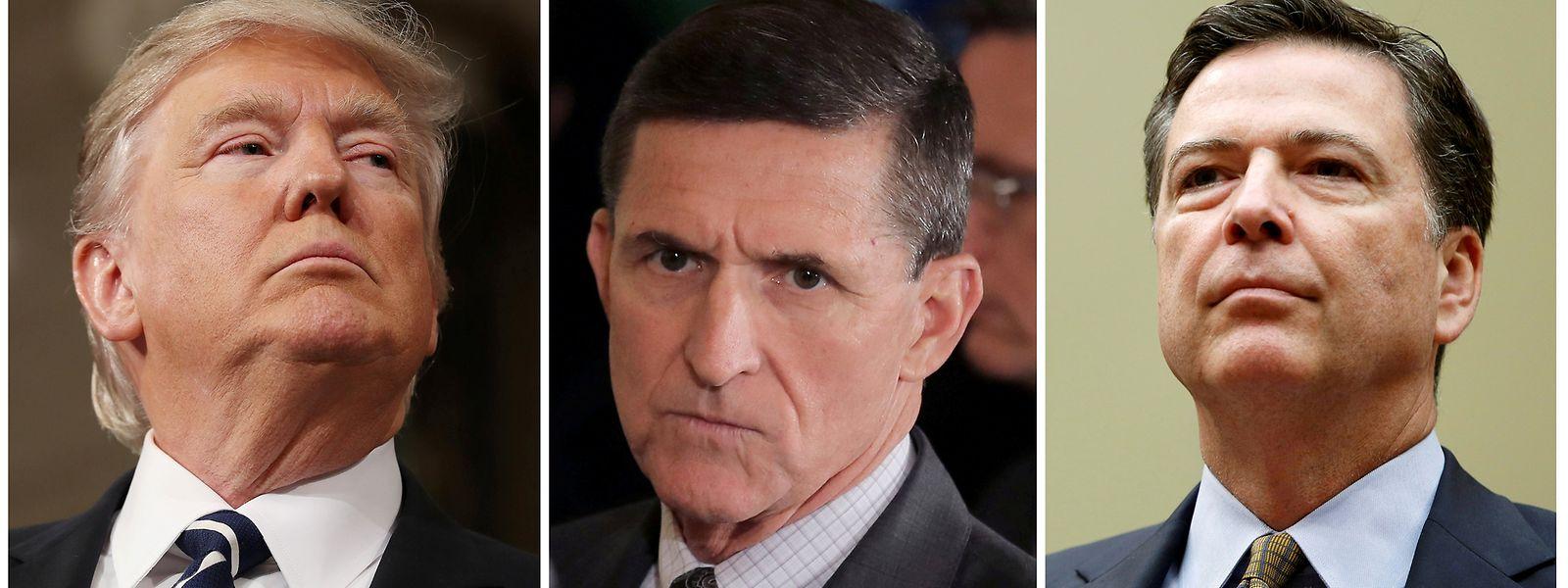Trump, Ex-Sicherheitsberater Flynn und Ex-FBI-Chef Comey (v.l.n.r.).