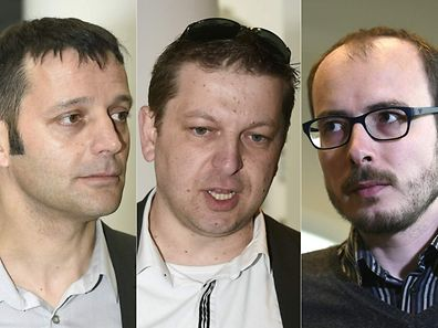 From left: French journalist Edouard Perrin, former employees at services firm PricewaterhouseCoopers (PwC), Raphael Halet and Antoine Deltour, all defendants in the LuxLeaks trial