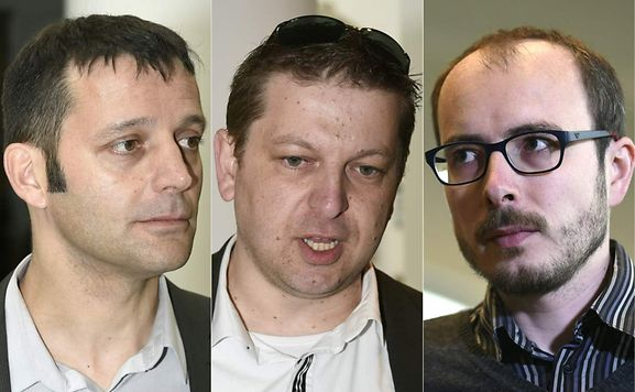 From left: French journalist Edouard Perrin and former employees at services firm PricewaterhouseCoopers (PwC), Raphael Halet and Antoine Deltour, all defendants in the LuxLeaks trial