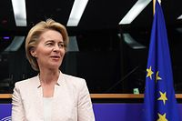(FILES) In this file photo taken on July 3, 2019 German Defence minister and newly-appointed EU commission chief Ursula von der Leyen arrives for a meeting during the first plenary session of the newly elected European Assembly at the European Parliament in Strasbourg, eastern France. - European Parliament will vote on Ursula von der Leyen's nomination as EU Commission president on July 16, 2019. (Photo by FREDERICK FLORIN / AFP)