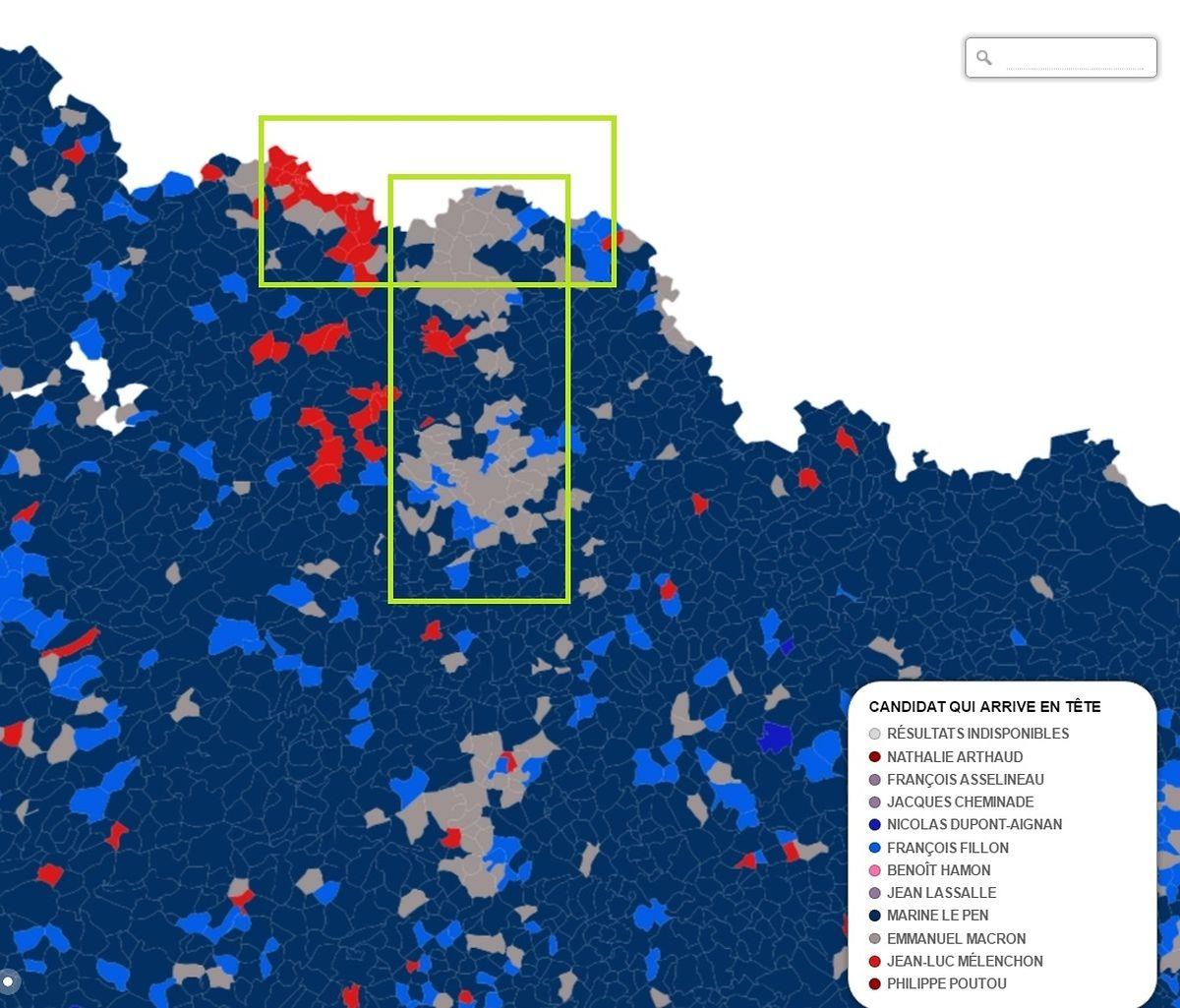 Dans l'océan bleu marine (FN) qui recouvre la Lorraine, on voit bien des zones grises (En Marche), rouges (La France insoumise) et bleu clair (Les Républicains) situées le long de la frontière et de l'A31
