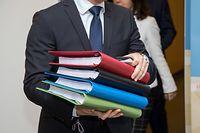 IPO , Unterzeichnung Koalitionsabkommen DP , LSAP , Dei Greng , Gambia , vlnr Etienne Schneider , Xavier Bettel , Corinne Cahen , Felix Braz Foto:Guy Jallay/Luxemburger Wort