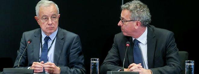 """Waren sich in vielen Punkten einig: Finanzminister Pierre Gramegna (r.) und der Präsident der Spezialkommission """"Taxe"""", Alain Lamassoure."""