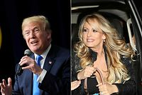 (COMBO) This combination of pictures created on March 27, 2018 shows US President Donald Trump speaking at The Generation Next event, a White House Forum featuring millennial voters and administration officials on March 22, 2018, at the Eisenhower Executive Office Building in Washington, DC, and actress Stephanie Clifford, who uses the stage name Stormy Daniels, arriving to perform at the Solid Gold Fort Lauderdale strip club on March 9, 2018 in Pompano Beach, Florida.  Big name lawyers are duking it out as Donald Trump braves two storms threatening his rocky presidency: the Russia election meddling probe and adult film actress Stormy Daniels' allegations that she had a steamy fling with him. The battles have featured some headline-grabbing casualties -- a big deal considering that defending the president would seem to be an attorney's dream assignment.   / AFP PHOTO / AFP PHOTO AND GETTY IMAGES NORTH AMERICA / MANDEL NGAN AND JOE RAEDLE