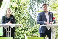PK Déi Gréng: Gerechtegkeet schaaft Zesummenhalt!, Conférence de presse du groupe Déi Gréng au Independent Café, Photos: Julian Pierrot/ Luxemburger Wort / Foto: Julian PIERROT
