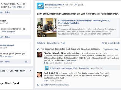"""Zahlreiche User haben die hohe Durchfallquote auf der Facebook-Seite des """"Luxemburger Wort"""" kommentiert."""