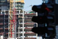 Lokales- Kirchberg Place de l'Europe, Chantier, Baustelle, construction, cran, Arbeiter Foto: Chris Karaba/Luxemburger Wort