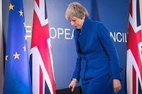 11.04.2019, Belgien, Brüssel: Theresa May, Premierministerin von Großbritannien, verlässt eine Pressekonferenz zum Abschluss des EU-Gipfels. Großbritannien bekommt für den Brexit Zeit bis zum 31. Oktober, kann aber auch schon früher geregelt aus der Europäischen Union austreten. Foto: Stefan Rousseau/PA Wire/dpa +++ dpa-Bildfunk +++