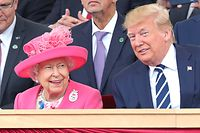 Britain's Queen Elizabeth II (L) and US President Donald Trump (R) talk in the royal box during an event to commemorate the 75th anniversary of the D-Day landings, in Portsmouth, southern England, on June 5, 2019. - US President Donald Trump, Queen Elizabeth II and 300 veterans are to gather on the south coast of England on Wednesday for a poignant ceremony marking the 75th anniversary of D-Day. Other world leaders will join them in Portsmouth for Britain's national event to commemorate the Allied invasion of the Normandy beaches in France -- one of the turning points of World War II. (Photo by Chris Jackson / POOL / AFP)