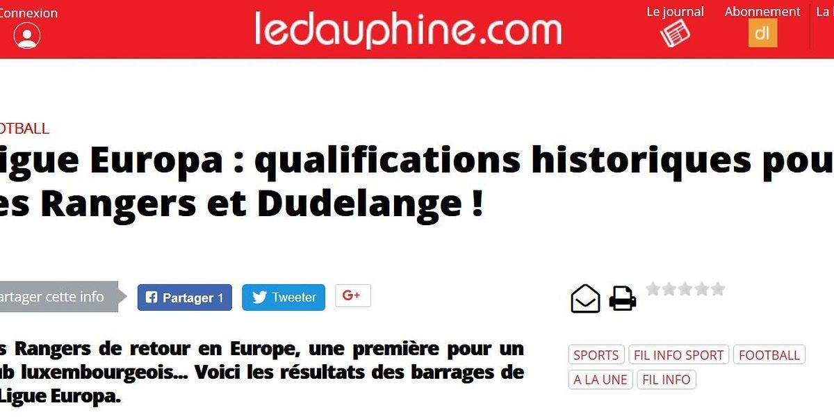 Le site du Dauphimé Libéré titre sur la qualification dudelangeoise