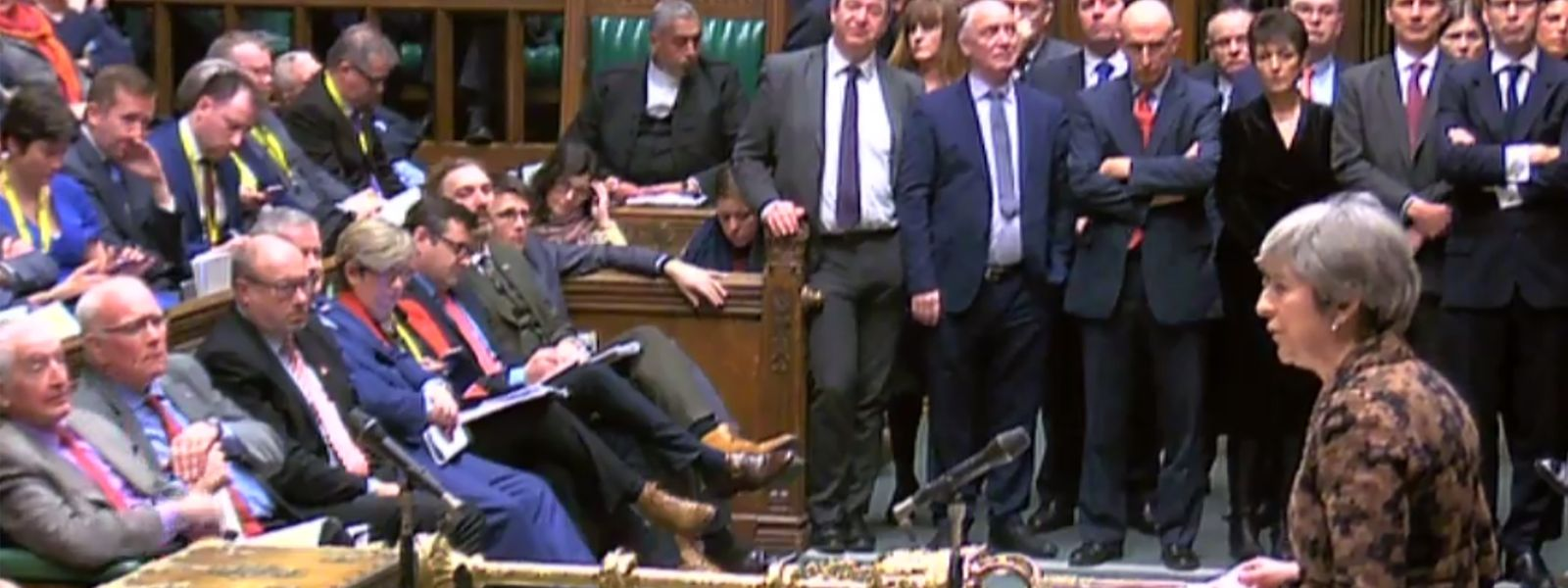"A video grab from footage broadcast by the UK Parliament's Parliamentary Recording Unit (PRU) shows Britain's Prime Minister Theresa May (R) making a statement to the House of Commons in London on January 21, 2019, on changes to her Brexit withdrawal agreement. - British Prime Minister Theresa May unveils her Brexit ""Plan B"" to parliament on Monday after MPs shredded her EU divorce deal, deepening the political gridlock 10 weeks from departure day. (Photo by HO / various sources / AFP) / RESTRICTED TO EDITORIAL USE - MANDATORY CREDIT "" AFP PHOTO / PRU "" - NO USE FOR ENTERTAINMENT, SATIRICAL, MARKETING OR ADVERTISING CAMPAIGNS"