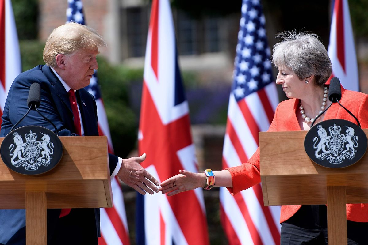 Präsident Trump eckte bei seinem letzten Besuch im Sommer 2018 bei Premierministerin Theresa May an.