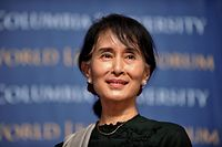 (FILES) In this file photo taken on September 22, 2012, Myanmar's member of parliament Aung San Suu Kyi attends an event at the Low Memorial Library at Columbia University in New York. - Myanmar's military seized power in a bloodless coup on February 1, 2021, detaining democratically elected leader Aung San Suu Kyi as it imposed a one-year state of emergency. (Photo by Stan HONDA / AFP)