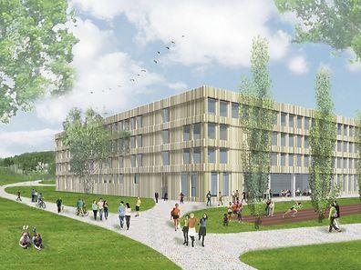Une vue du futur lycée de l'Ecole internationale de Differdange (EIDD) qui verra le jour derrière l'actuel Hall La Chiers.