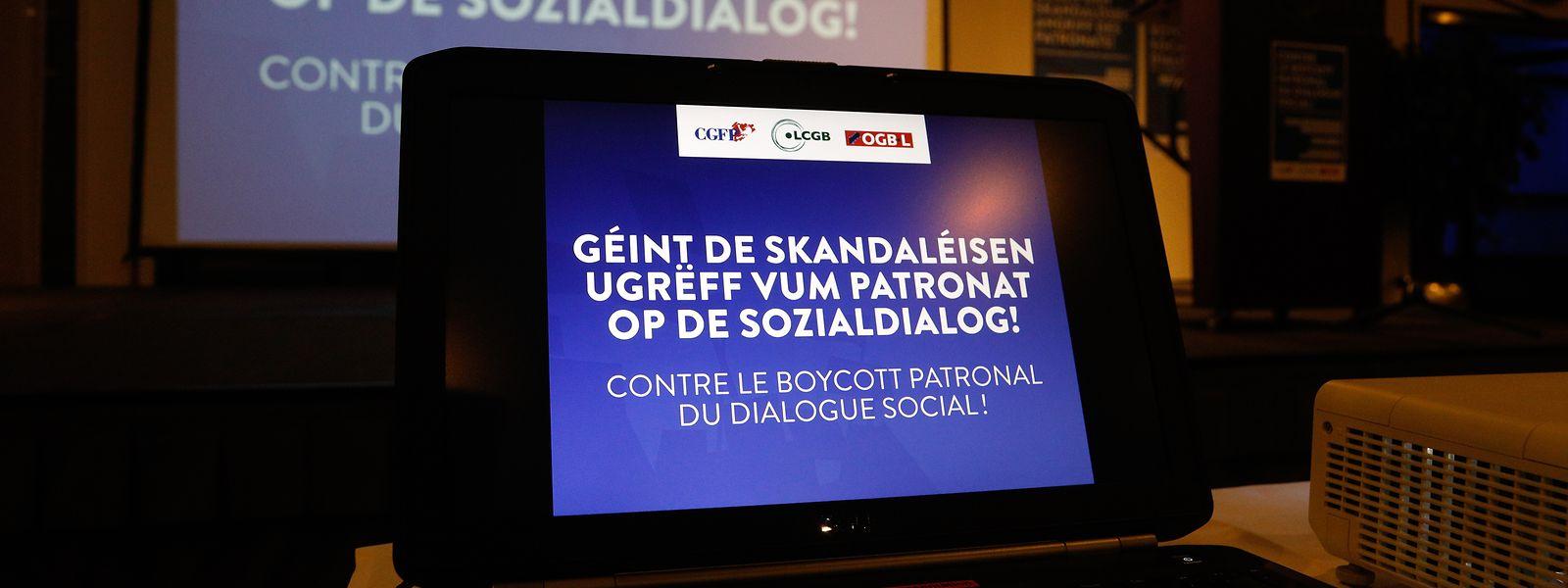 """Am 19. November organisierten die drei national repräsentativen Gewerkschaften CGFP, LCGB und OGBL eine Protestkundgebung gegen einen """"Angriff auf den Sozialdialog"""" durch die UEL."""