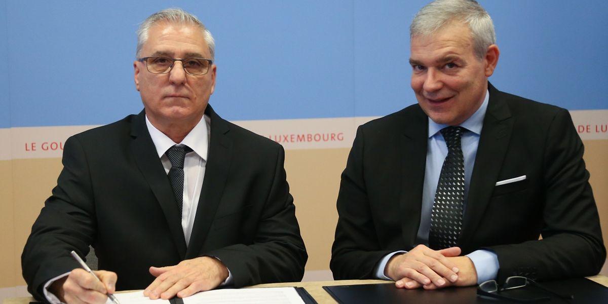 José Vaz do Rio com o ministro do Interior, Dan Kersch.