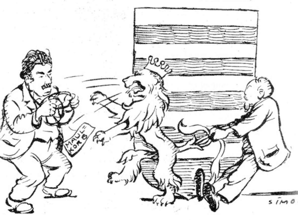 "Der Widerstand gegen das ""Maulkorbgesetz"" aus Sicht des Karikaturisten des ""Escher Tageblatt"", Albert Simon."