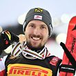 Austria's Marcel Hirscher poses with his medals during the medal ceremony of the men's slalom event at the 2019 FIS Alpine Ski World Championships at the National Arena in Are, Sweden, on February 17, 2019. (Photo by Fabrice COFFRINI / AFP)