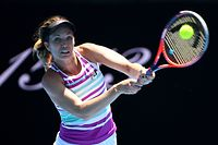 MELBOURNE, AUSTRALIA - JANUARY 14:  Danielle Collins of the United States plays a backhand in her first round match against Julia Goerges of Germany during day one of the 2019 Australian Open at Melbourne Park on January 14, 2019 in Melbourne, Australia.  (Photo by Quinn Rooney/Getty Images)