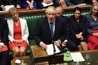 """A handout photograph released by the UK Parliament shows Britain's Prime Minister Boris Johnson gesturing while answering questions on the proroguing of Parliament, in the House of Commons in London on September 25, 2019, after the Supreme Court ruled that it was """"unlawful, void and of no effect"""" - Britain's parliament resumed on Wednesday after the Supreme Court ruled that Prime Minister Boris Johnson's order to suspend it was """"unlawful, void and of no effect"""". Johnson, who has vowed to press ahead with his plans for Brexit on October 31, was due to address MPs later on Wednesday. (Photo by JESSICA TAYLOR / UK PARLIAMENT / AFP) / RESTRICTED TO EDITORIAL USE - NO USE FOR ENTERTAINMENT, SATIRICAL, ADVERTISING PURPOSES - MANDATORY CREDIT """" AFP PHOTO / Jessica Taylor /UK Parliament"""""""