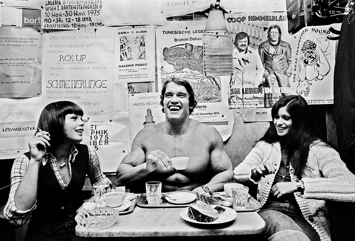 Michael Horowitz ,  Arnold Schwarzenegger, 1975, Hahnemühle Fine Art Baryta Print Besitz des Künstlers