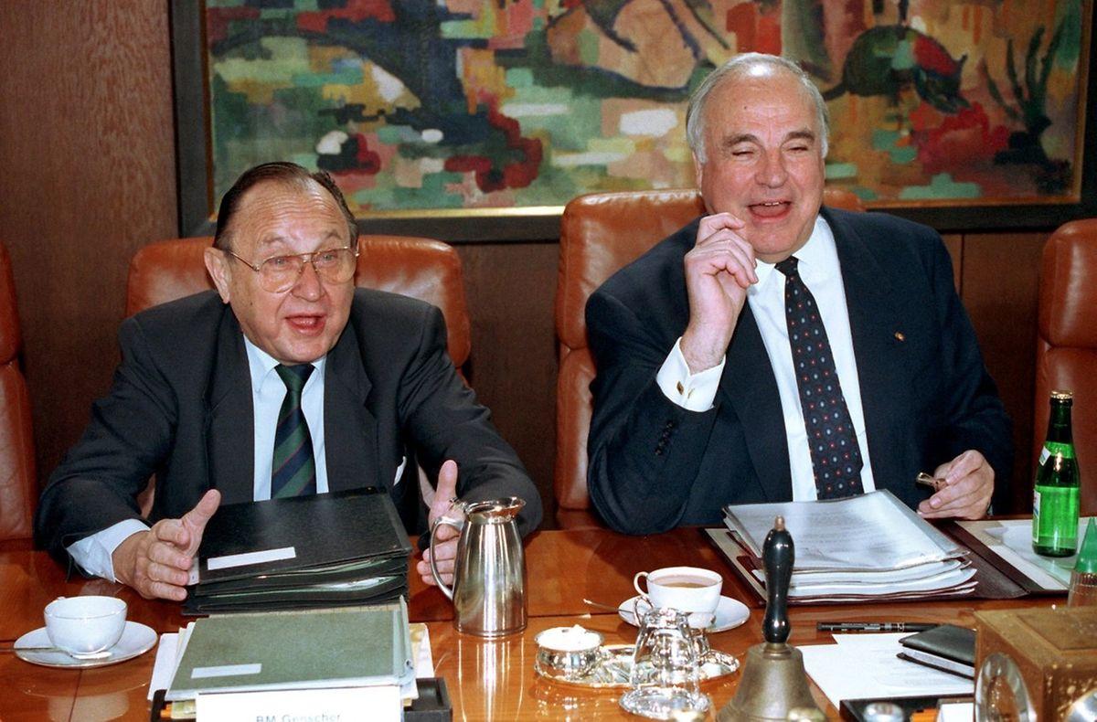 Mai 1992: Genschers letzte Kabinettssitzung zusammen mit Helmut Kohl.