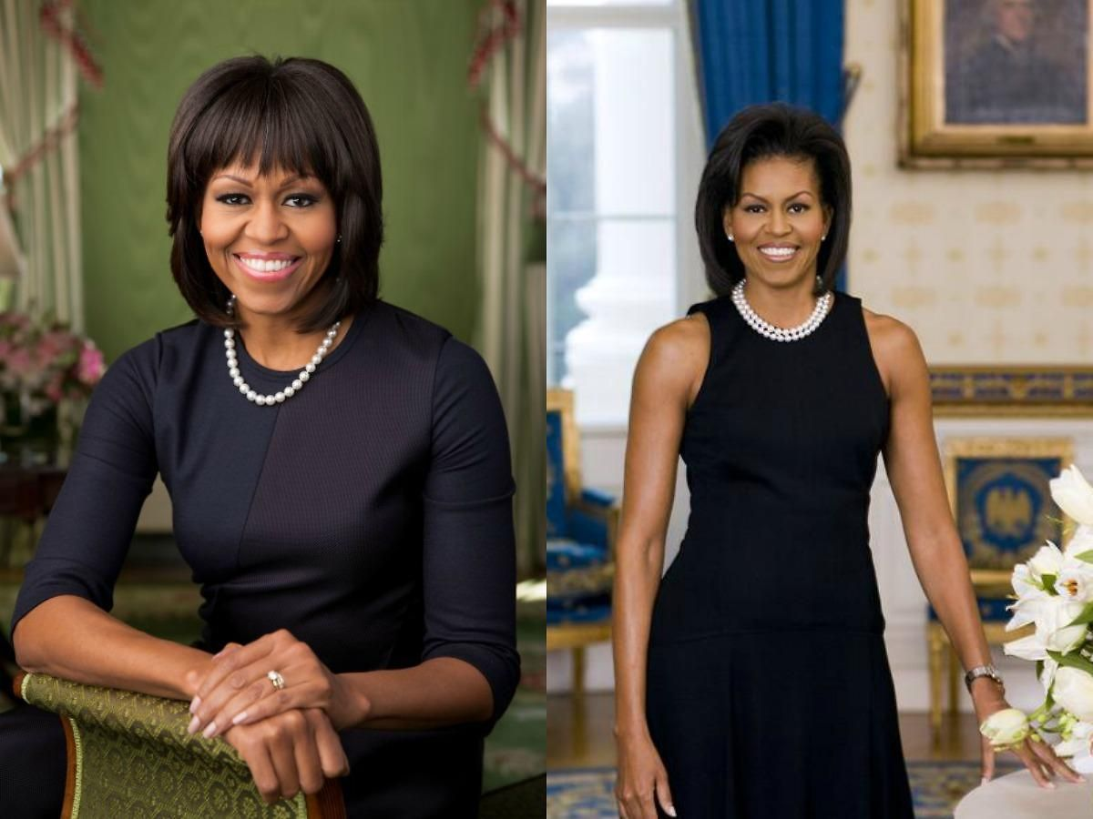 Michelle Obama en 2009 et 2013.