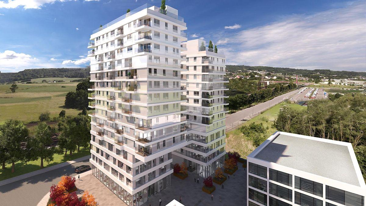 Der Doppelturm besteht aus einem Gebäude mit 15  und einem mit 13 Ebenen.