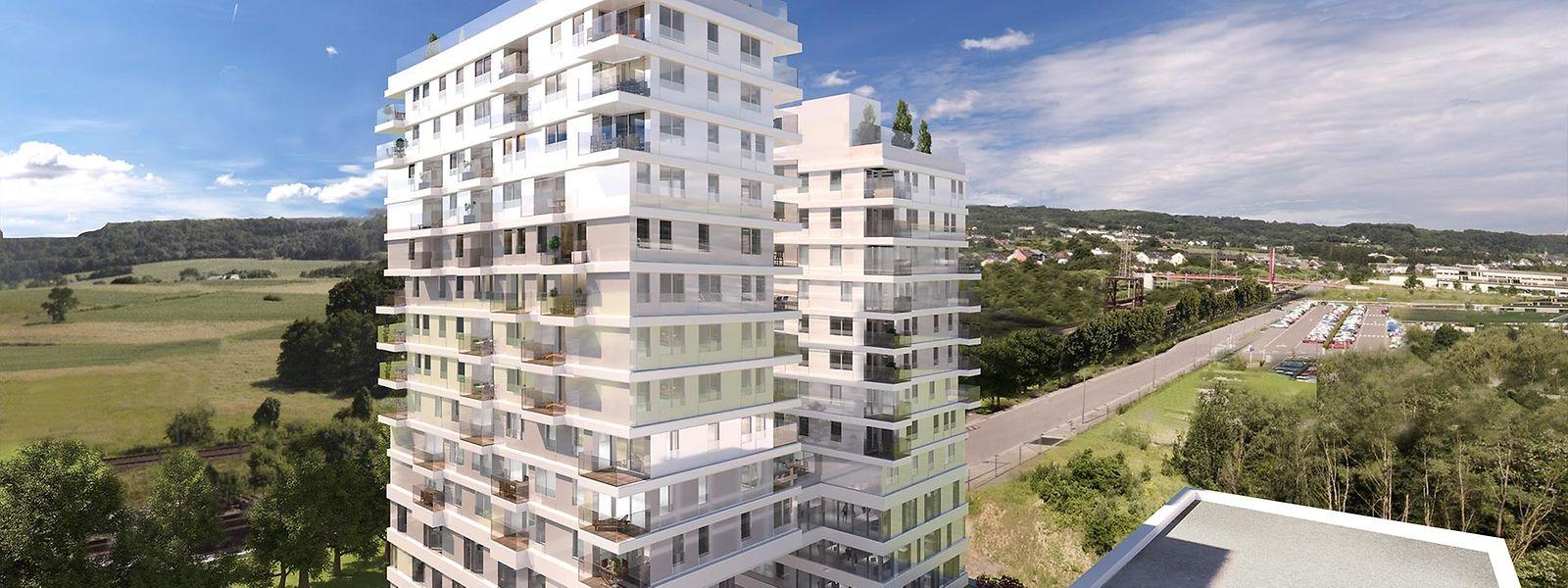 """15, respektive 13 Stockwerke wird der """"Capelli""""-Doppelturm in Belval hoch. Die vier unteren Ebenen sind für Geschäfts- und Büroflächen vorgesehen."""