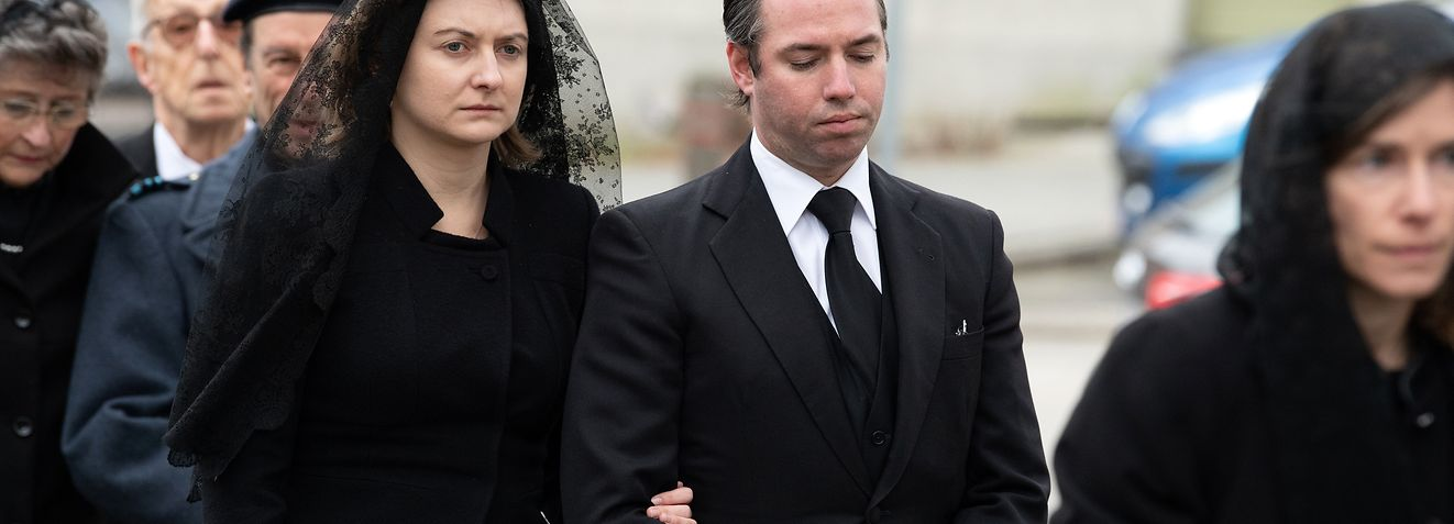 Crown Grand Duke Guillaume of Luxembourg and Crown Grand Duchess Stephanie of Luxembourg attend the funeral of Count Philippe of Lannoy at Saint-Amand church in Frasnes-lez-Anvaing, Belgium on January 16, 2019.Count Philippe of Lannoy has died at 96 on January 10, 2019, father of Crown Grand Duchess Stephanie of Luxembourg.