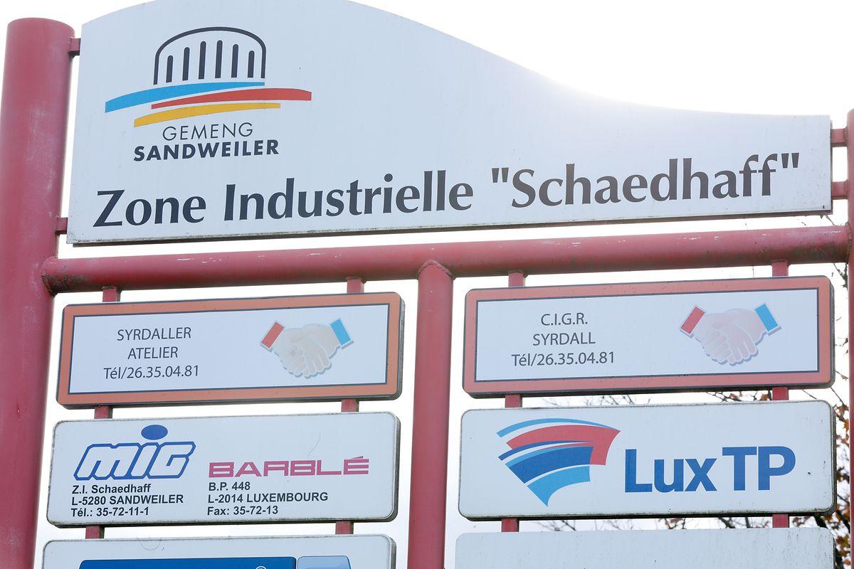 """Die Industriezone """"Schaedhaff"""" in der Gemeinde Sandweiler."""