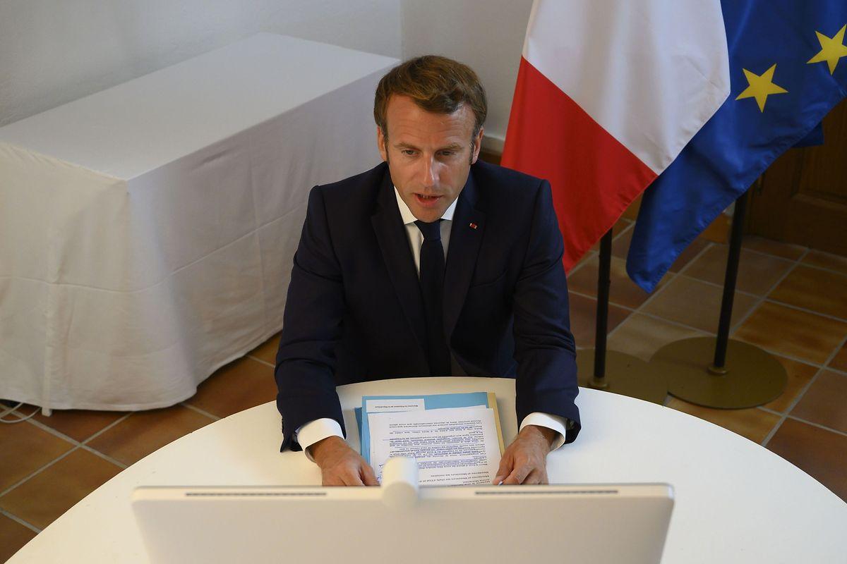 Frankreichs Staatschef Emmanuel Macron forderte die Partner bei einem mit den Vereinten Nationen organisierten virtuellen Treffen zu einer massiven Nothilfe auf.